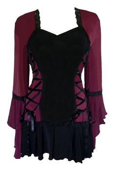 A truly unique and highly rated gothic lolita corset bolero top that looks like a corset with a bolero jacket over it. This elegant garment comes in six vibrant colors with a seductive curvy silhouette that has black lace outlines, a wide cascading sleeves, and a final cute touch in the form of a skirt flounce that skims the hips. $69.99  http://gothiclolitastore.com/product/gothic-victorian-bolero-corset/  #goth #gothic #lolita #corset #dress #fashion
