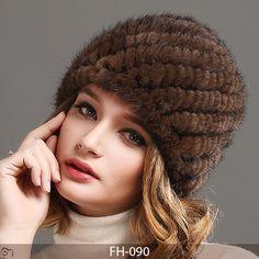 303e359b8b2 FURTALK Womens Girls Real Mink Fur Knitted Hat Winter Beanie Warm Cap   FURTALK brand knitted mink fur winter skullies beanies
