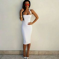 White pencil dress size small Beautiful white Party Dresses   Midi Pencil Stretchy Cotton Bandage Bodycon Dress Size small Dresses Midi
