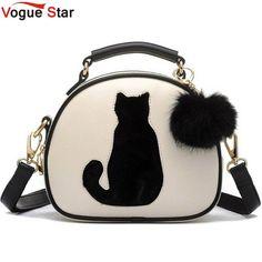 Cat Silhouette Cross Body Messenger Bag Pu Leather Handbags With Fur Ball