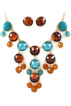 Cognac Bubble Necklace Set | Awesome Selection Of Chic Fashion Jewelry | Emma Stine Limited