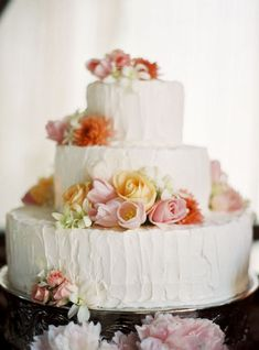 Rustic cake with flowers--LOVE