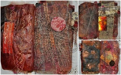"""Carmel – """"I painted the tea bags with watercolour paints, embellished with hand printed foil, machined stitched, suffolk buttons and this and that. It is amazing how strong a tea bag can be!"""""""