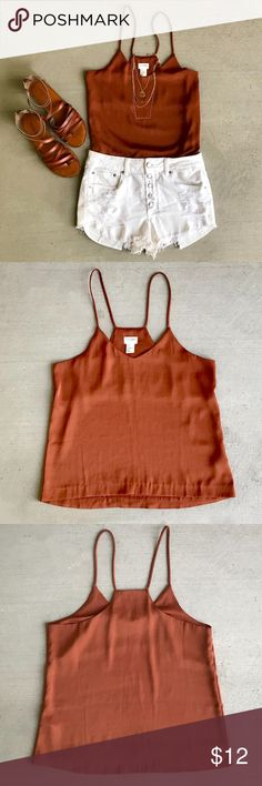 H&M Silk Tank Top Beautiful rust color tank. Awesome basic to add to any closet!  •Lined •Racerback  ❥XO, Kay H&M Tops Tank Tops