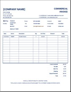 Commercial Invoice Template  Invoice Comercial