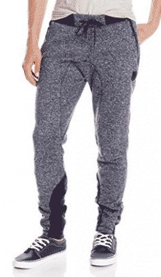 78498dedab3f5c Southpole Men s Marled Fleece Jogger Pants with Color Block On Bottom