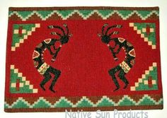 Kokopelis Southwestern Flute Player Design Placemats Set of inches for sale online Unique Placemats, Southwest Home Decor, Placemat Design, Native American Fashion, Dining Table In Kitchen, Table Covers, Throw Rugs, Home Decor Accessories