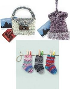 Quick to knit and crochet gift card holders