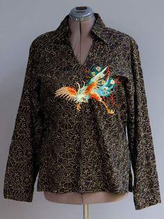 Custo Barcelona Black Tunic Top Entirely Embroidered Colorful Peacock Bird sz L #CustoBarcelona #Blouse