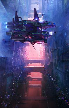 Vertical Space, Eric Pfeiffer on ArtStation at https://www.artstation.com/artwork/RJ8LO Cyberpunk. Spaceship. Maintenance. Salvage. Vertical. Space. Colorful. Environment Design. Concept Art. Scifi. Digital Art. Vehicle Design