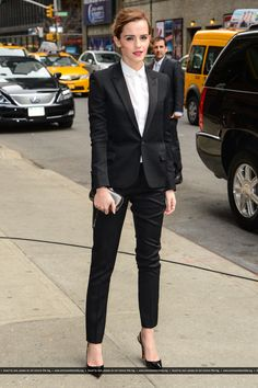 Emma Watson enters the 'Late Show With David Letterman' taping at the Ed Sullivan Theater on March, 25