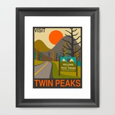 Visit Twin Peaks Framed Art Print by Jazzberry Blue - $36.00