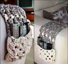 I wonder if the remotes would magically be found there in the morning Unique Crochet, Love Crochet, Crochet Granny, Knit Crochet, Crochet Home, Crochet Gifts, Fabric Yarn, Fabric Crafts, Crochet Basket Pattern