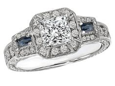 Princess Cut Diamond Halo Engagement Ring Blue Sapphire Accents in 14K White Gold