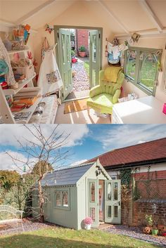 64 Super ideas craft room she shed sewing Super ideas craft room she shed sewing spaces craft sewingShe Shed - Guest Room, Craft Room, Office Sewing Spaces, Sewing Rooms, Sewing Art, Tiny Sewing Room, Shed Design, House Design, Shed Images, Deco Pastel, Decoration Shabby