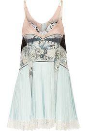 Mary KatrantzouPleated silk, lace and jacquard mini dress