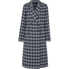 Vanessa Seward Dorian double-breasted checked cotton-blend tweed coat found on Polyvore featuring outerwear, coats, navy, double breasted coat, checked coat, checkered coat, tweed wool coat and print coat