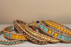 6 Layer Leather Wrap bracelet Turquoise by homemadewithpleasure