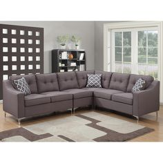 AC Pacific Christies Home Living Kayla 4-piece Mid Century Linen Fabric Tufted L Shaped Sectional