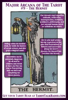 Divination:  Major Arcana of The #Tarot:  #9 ~ The Hermit.