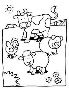 Kip - Varken - Schaap - Koe - Knutselpagina.nl - knutselen, knutselen en nog eens knutselen. Farm Animal Coloring Pages, Colouring Pages, Free Coloring, Coloring Pages For Kids, Coloring Sheets, Coloring Books, Farm Animals Preschool, Preschool Art, Animal Projects