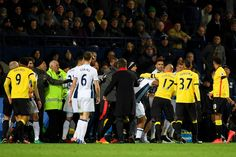 Players tussle during the Premier League match between West Bromwich Albion and Watford at The Hawthorns on December 3, 2016 in West Bromwich, England.