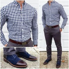 Men's Formal Style: Formal Outfit Ideas For Men - Men's Fashion Mode Masculine, Business Casual Men, Men Casual, Smart Casual, Man Style Casual, Business Outfits, Casual Wear, Blue Checkered Shirt, Formal Men Outfit