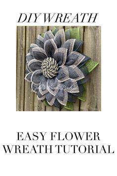 easy home decor DIY Wreath Tutorial, Ea - Burlap Crafts, Wreath Crafts, Diy Wreath, Tulle Wreath, Wreath Ideas, Peacock Wreath, Diy Garland, Burlap Flower Wreaths, Deco Mesh Wreaths