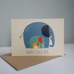 Baby & Geburt - Klappkarte ELEFANTEN - ein Designerstück von Tell-Me bei DaWanda