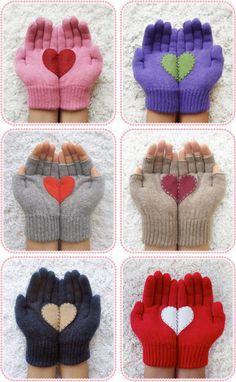 Hand Knitted Heart Winter Gloves