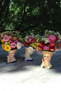 Love vintage lady head vases