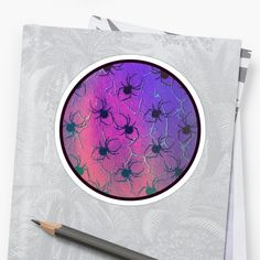 Over creatives worldwide making things like shirts, stickers, phone cases, and pillows weirdly meaningful. Decorative Stickers, Black Spider, Halloween Spider, Orange And Purple, Laptop Stickers, Sticker Design, Overlays, Colorful Backgrounds, Beautiful Flowers