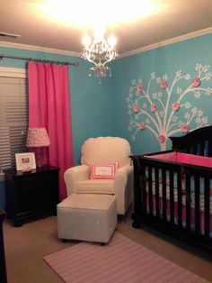 Pink and Turquoise Nursery - Project Nursery | Project Nursery. This is so pretty!  I love the colors