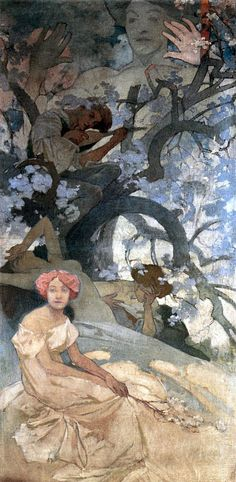 Alphonse Mucha - Study for comedy. Such an intriguing piece.