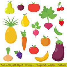 Fruit and Vegetable Clipart Clip Art Fruit Clipart by PinkPueblo, $6.00
