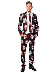 Suitmeister Skull Blood Men Classy Halloween Costumes, Halloween Men, Halloween Costume Contest, Halloween Christmas, Funny Halloween, Halloween Ideas, Halloween Party, Tall Pants, Slim Fit Jackets