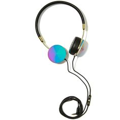 Frends Layla Oil Slick Headphones ($155) ❤ liked on Polyvore featuring accessories, tech accessories, fillers, headphones, tech, items, ipod headphones, black iphone headphones, apple iphone headphones and iphone headphones