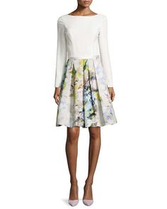T9MCF Theia Long-Sleeve Floral Pleated-Skirt Dress
