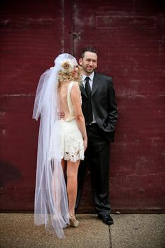 Long Juliet Cap Veil Paired With A Short Wedding Dress Super Y