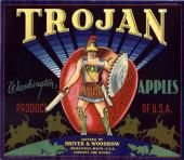 Wenatchee, Washington Trojan  Apple Crate Label