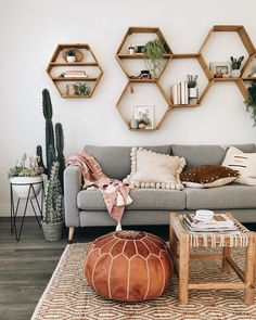 Honeycomb Shelves go live tomorrow at MST! 🙌🏻 For everyone who's messaged + emailed or kept an eye out, the wait is almost… Cute Living Room, Boho Chic Living Room, Living Room Decor, Diy Room Decor, Bedroom Decor, Home Decor, Wall Decor, Honeycomb Shelves, Hexagon Shelves
