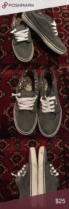 Vans Grey canvas in great condition. Some scuffs on white rubber. Laces are clean but have been cut and knotted (as seen in photo above). Vans Shoes Sneakers