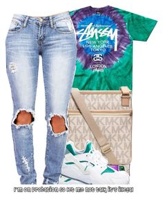 """Stussy."" by beautifulme078 ❤ liked on Polyvore featuring Stussy, MICHAEL Michael Kors and NIKE"