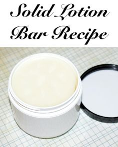Solid Lotion Bar Recipe! This homemade solid lotion bar recipe is wonderful for dry winter skin! Use a mini ice cream tub as a mold then scent with an uplifting blend of natural lemon and basil essential oils!