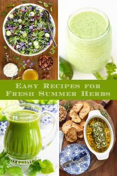 Make the most of all those fresh summer herbs with these easy and delicious recipes. We've included our all our favorite tips and tricks! Garlic Recipes, Beef Recipes, Delicious Recipes, Yummy Food, Healthy Recipes, Cooking With Fresh Herbs, Herb Salad, Refreshing Desserts, Blender Recipes
