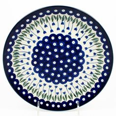 """10"""" - Quality 1 Guaranteed from the renowned Ceramika Artystyczna Boleslawiec - Polish Pottery is Oven, Microwave, and Dishwasher Safe! - Hand Painted and Stamped by Highly Skilled Artisans - Crack an"""