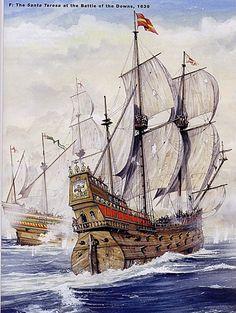 Santa Teresa at the Battle of the Downs, 1639 Spanish Galleon, Thirty Years' War, Old Sailing Ships, Pirate Art, Ship Paintings, Naval History, Classic Paintings, Nautical Art, Ship Art