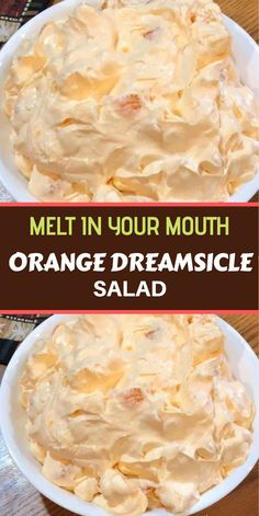 Orange Dreamsicle Salad Ingredients: 1 box orange Jell-O 1 box instant vanilla pudding 1 cup boiling water cup cold water Fluff Desserts, Jello Desserts, Dessert Salads, Jello Recipes, Fruit Salad Recipes, Recipies, Fruit Salads, Health Desserts, Other Recipes