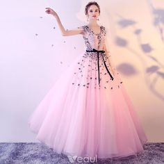 Chic / Beautiful Blushing Pink Prom Dresses 2017 Ball Gown V-Neck Sleeveless Appliques Flower Sash Floor-Length / Long Ruffle Backless Formal Dresses Cheap Evening Dresses, Cheap Prom Dresses, Formal Dresses, Sweet 16 Dresses, Sweet Dress, Pretty Dresses, Pink Dresses, Girls Dresses, Prom Dresses 2017