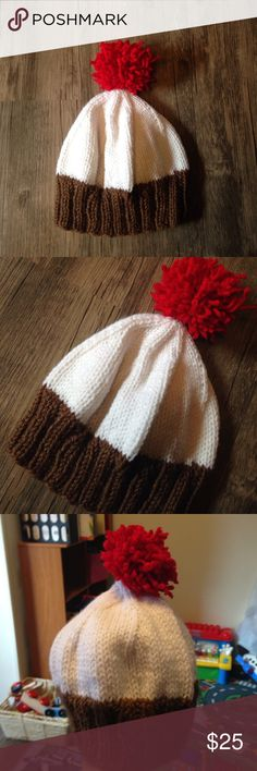 """Kids Cupcake Hat Hand knit by me using acrylic yarn. Brown, white and red. Hat measures 7.25"""" not including pompon, laying flat unstretched 6"""" with lots of stretch. Fits my 4 yr olds head. So I would say up to age 4.   Please don't hesitate to ask questions!  Same/Next day shipping!  🔶Prices are at my lowest! Lewis Knits Accessories Hats"""